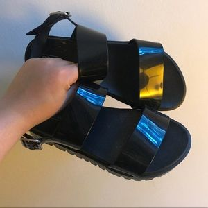 Platform jelly sandals, like new!